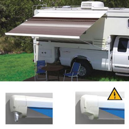"""Picture of Carefree Freedom Silver Vinyl 11' 6""""L X 8' Extension Adj Pitch Manual Box Awning 351386D25 00-1002"""