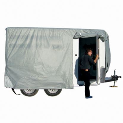 """Picture of ADCO SFS AquaShed (R) Gray Fabric/Poly Cover For 12' 1""""-14' Bumper Pull Horse Trailers 46003 01-3432"""
