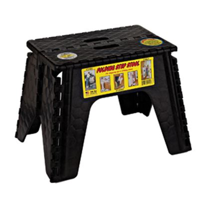 "Picture of B&R Plastics EZ-Foldz 12""H Black Plastic Folding Step Stool 103-6BK 03-1215"