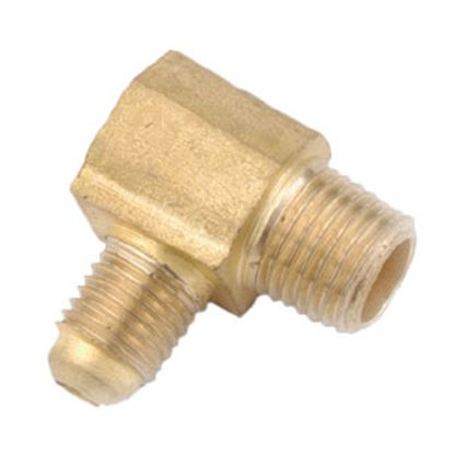 """Picture of Anderson Metal LF 7409 Series 3/8"""" OD Tube 45 Deg SAE Flare x 1/4"""" MPT Brass Fresh Water 90 Deg Elbow 704049-0604 06-1276"""