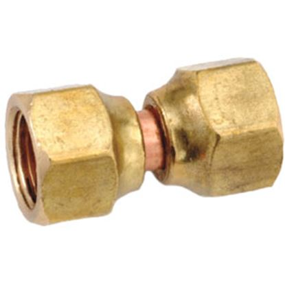 """Picture of Anderson Metal LF 7700 Series 3/8"""" OD Tube 45 Deg SAE Flare Swivel Nut Brass Fresh Water Straight Fitting 704070-06 06-1310"""