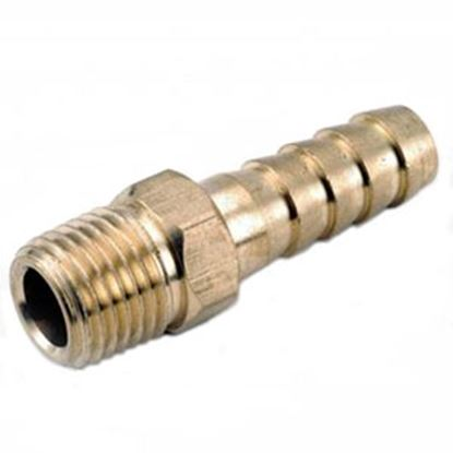"Picture of Anderson Metal LF 7129 Series 1/4"" Hose Barb x 1/4"" MPT Brass Fresh Water Straight Fitting 707001-0404 06-9212"