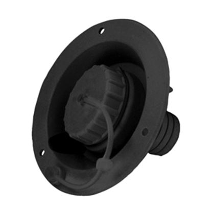Picture of Valterra  Black Plastic Bayonet Style Fresh Water Inlet Cap w/Lanyard A0120SBKVP 10-0136