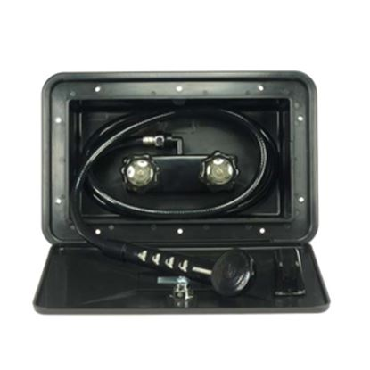 Picture of Dura Faucet  Black Lockable Exterior Shower Box Kit w/ Smoke Knobs DF-SA170-BK 10-0843