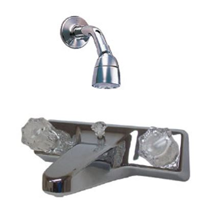 """Picture of Utopia  Chrome w/2 Clear Knob 8"""" Lavatory Faucet 20329R206 10-1441"""