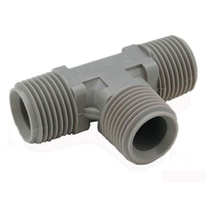 "Picture of QEST Qicktite (R) 1"" Pipe Thread Gray Acetal Fresh Water Tee  10-3021"