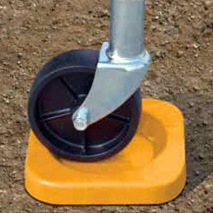 Picture of Level-Trek  Yellow Polypropylene Trailer Tongue Jack Wheel Chock LT-80108 15-0394