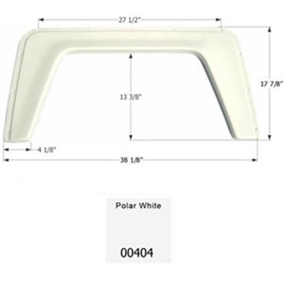 "Picture of Icon  Polar White 38-1/8""L x 17-7/8""H Single Axle Universal Fender Skirt 00404 15-1290"