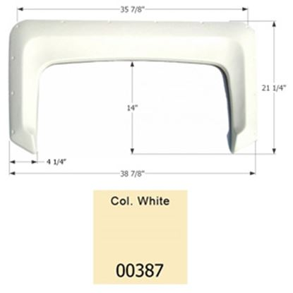 "Picture of Icon  Colonial White 38-7/8""L x 21-1/4""H Single Axle Universal Fender Skirt 00387 15-1603"