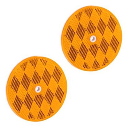 """Picture of Bargman  2-Pack 3-3/16"""" Round Amber Screw Mount Reflector 74-68-020 18-0398"""