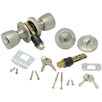 Picture of AP Products  Brass Lever Entry Door Lock w/Deadbolt 013-234 20-5025