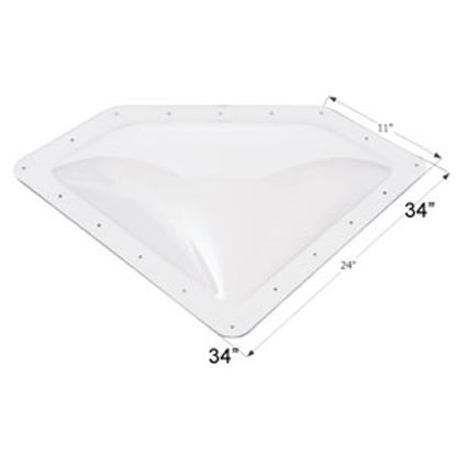 "Picture of Icon  4""H Bubble Dome Neo Angle Clear PC Skylight w/11"" X 24"" Flange 01864 22-0025"