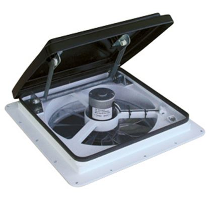 """Picture of MaxxAir MaxxFan (R) 14""""x14"""" Roof Vent w/Fan & Power Lift & Thermostat 00-04500K 22-0372"""