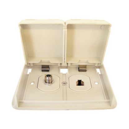 Picture of Prime Products  White Outdoor Dual Phone/ TV Receptacle w/ Cover 08-6305 24-0540
