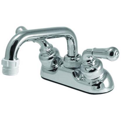 "Picture of Relaqua  Chrome w/Teapot Handles 4"" Lavatory Faucet w/Threaded Arc Spout ALL-402-01RC 69-0312"