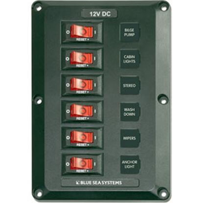 """Picture of Blue Sea BelowDeck (TM) 45A 12VDC 4.5""""W X 6.5""""H X 1.75""""D Power Distribution Box w/6 Posi 4352 69-0575"""