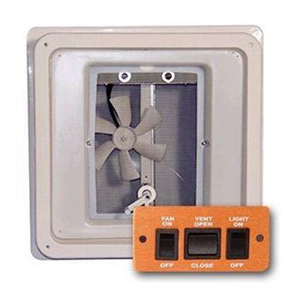 "Picture of Heng's  White 14""x14"" Plastic Frame Roof Vent w/Fan & Power Lift V071142-C1G1 69-9158"