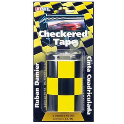 """Picture of Top Tape  Yellow/ Black 3"""" x 15' L Anti-Slip Checkered Tape RE7017 69-9970"""