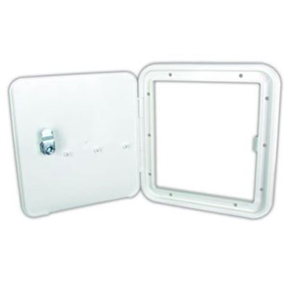 """Picture of JR Products  Polar White 6-7/8""""RO Lockable Fuel Hatch Access Door 91122-A 96-2850"""